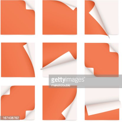 orange set of note paper with curled corner : Vector Art