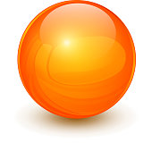 Orange sphere, 3D vector ball.