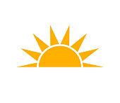 Simple orange sunset sun icon. Vector illustration