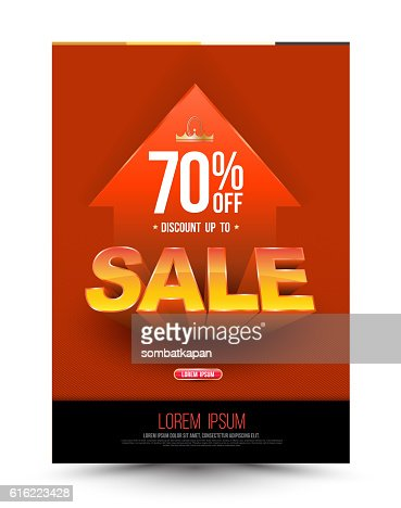 Orange template super sale poster discount up to 70 percent : Vectorkunst