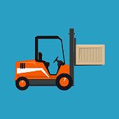 Forklift Truck Isolated on a Blue Background, Orange Vehicle Forklift Picks up a Box, Vector Illustration
