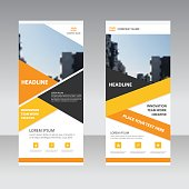 Orange yellow Business Roll Up Banner flat design template ,Abstract Geometric banner template Vector illustration set, abstract presentation template