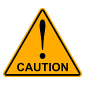Orange yellow triangle with exclamation mark the word caution, vector Hazard warning attention sign