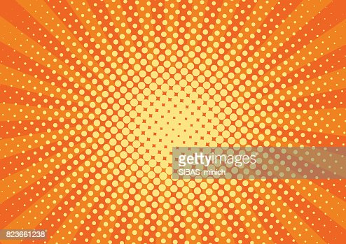 Orange, yelow rays and dots pop art background. retro vector illustration drawing for design : stock vector