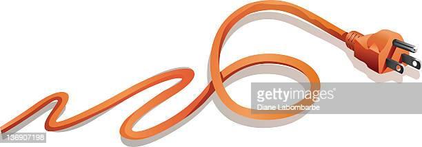 Orange Zig-zagging Electrical Plug and Cord Isolated on White