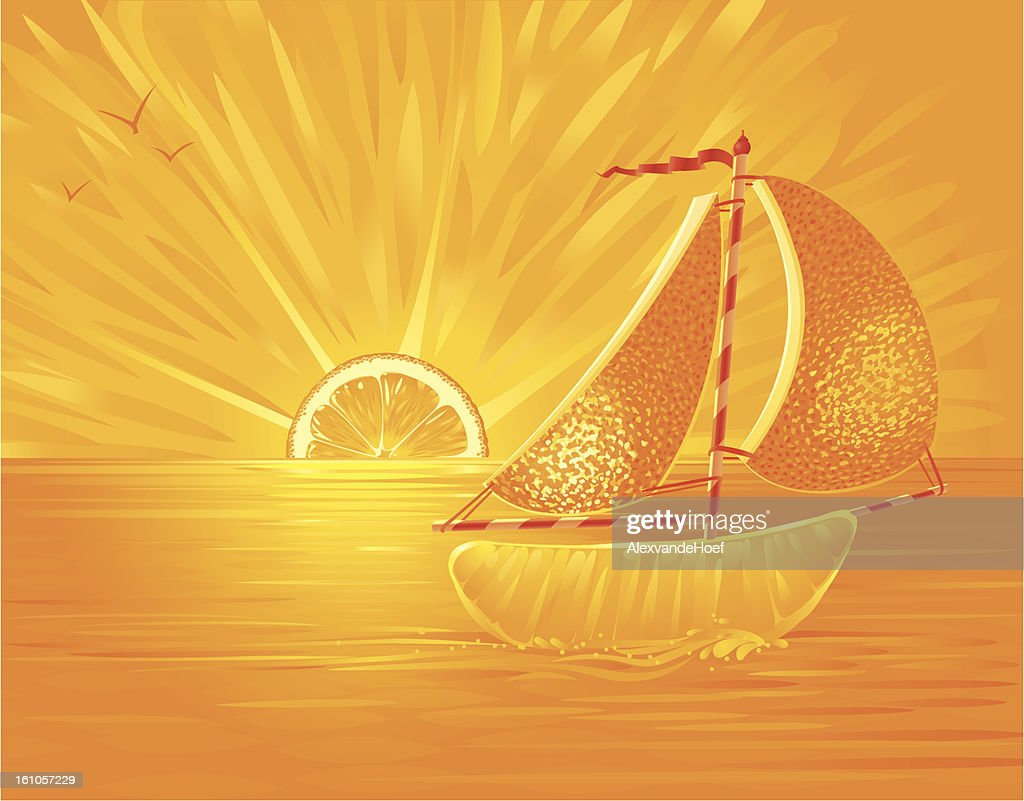 Orangejuice Ocean Sunset with Orange Sailboat : Vector Art