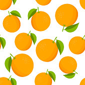 Oranges pattern. Colorful texture with oranges on white background. Vector illustration.