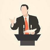 speaker icon. orator speaking from tribune vector illustration
