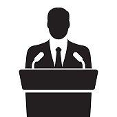 speaker icon. orator speaking from tribune. vector flat design colorful illustration