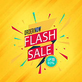 Order Now Flash Sale Up To 80% Orange Background Vector Image