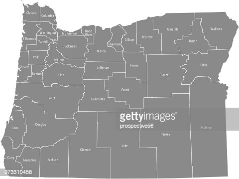 Oregon State Map With Counties.Oregon County Map Vector Outline Gray Background Map Of Oregon State