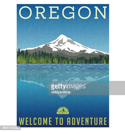 Oregon, United States travel poster or luggage sticker. Scenic illustration of Mt. Hood behind lake with reflection. : stock vector