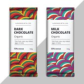 Organic dark and milk chocolate bar design. Choco packaging vector mockup. Trendy luxury product branding template with label and geometric pattern.