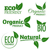 Organic eco vector logos with green leaves. Bio friendly products labels with leaf. Organic natural, bio and eco green label illustration