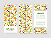 Organic Farm Food Banner Templates Set with Fresh Fruits, Vegetables and Place for Text, Design Element can Be Used for Grocery Shop, Farm Market, Cafe Menu Colorful Vector Illustration.