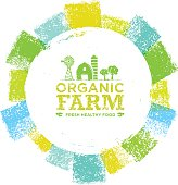 Organic Farm Fresh Healthy Food Eco Green Vector Concept on Paper Background