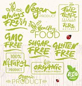 Collection of Hand Drawn Calligraphic Elements Suitable for Organic Products Design