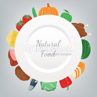 Organic food. Fruits and vegetables. Healthy eating concept. Vector