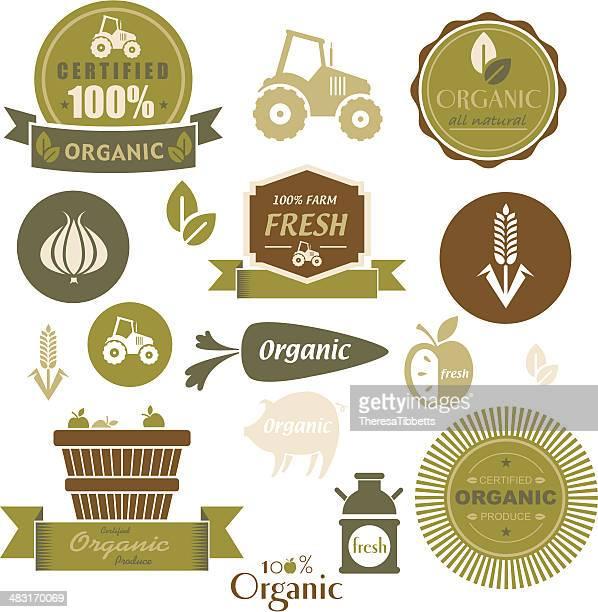 Bio-Lebensmittel-Label-Set