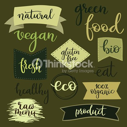 Organic food labels, badges, set for food, drink, organic products
