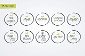100% Organic Natural Gluten Sugar GMO Free Vegan Vegetarian Farm Fresh label. Food icons. Vector green and white circle signs isolated. Illustration symbol for product, merchandise, packaging, healthy