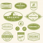 Set of Organic product labels.