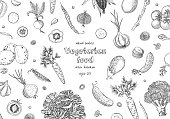 Organic vegetables food banners. Healthy food. Engraving sketch vintage style. Vegetarian food for design menu, recipes, decoration kitchen items. Great for label, poster, packaging design