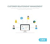 Customer Relationship Management vector illustration. Flat icons of accounting system, clients, support, deal. Organization of data on work with clients, CRM concept.