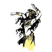 oriental bellydance, Arabian dancer, vector dancing woman Arabian oriental bellydance, vector dancing woman, tribal dance
