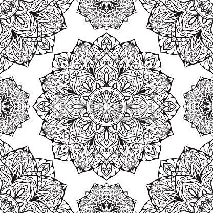 orientalische schwarz und wei ornament vektorgrafik thinkstock. Black Bedroom Furniture Sets. Home Design Ideas