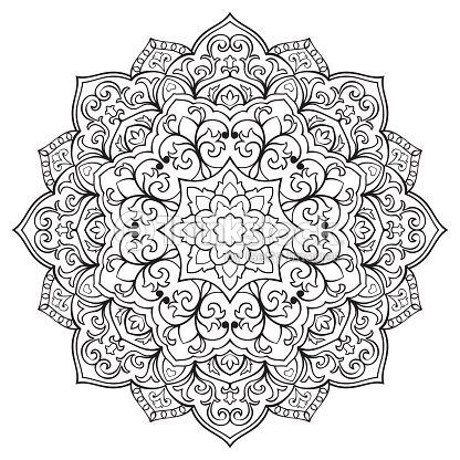 Mandala oriental fleuri clipart vectoriel thinkstock - Motif oriental a imprimer ...
