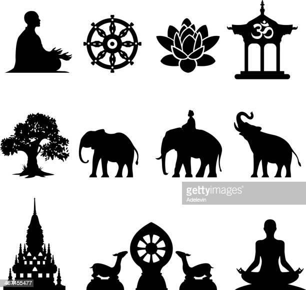Oriental icônes définies.  Symboles de la statue de Bouddha