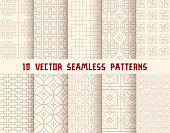 Oriental seamless pattern background set. Asian traditional geometric floral ornament with chinese circle tracery and japanese curve line pattern for wrapping paper, wallpaper and textile design