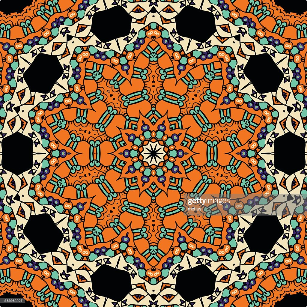 Oriental ornate seamless pattern. Ethnic endless background. Vector illustration : Vector Art