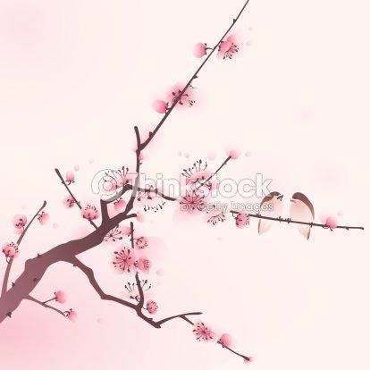 Peinture de style oriental de fleur de cerisier au for Cherry blossom mural works