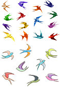 Colorful flying swallows birds in paper origami and outline sketch style isolated on white background for business logo or emblems design