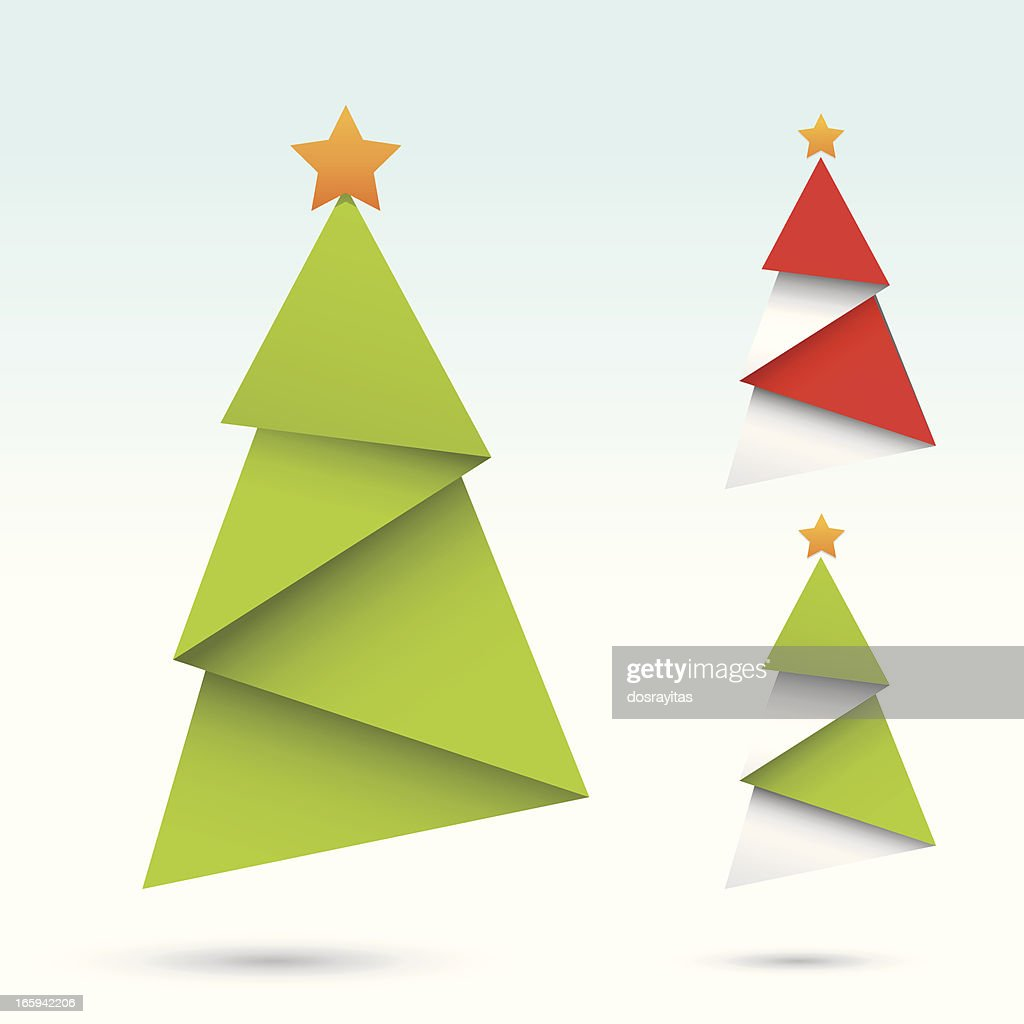 origami christmas tree vector art getty images