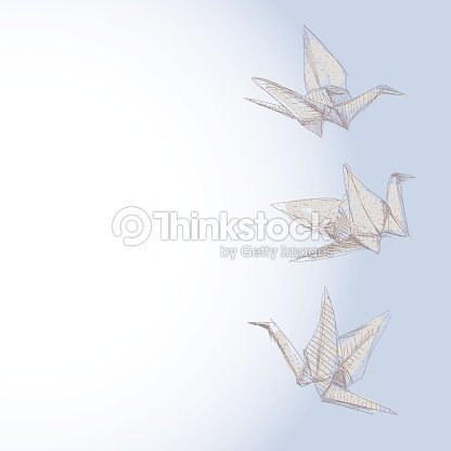 Origami Crane Sketch Symbol Of Faith Hope And Love Banner Vector Art