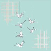 Oriental style vector, origami cranes string & bamboo pattern.