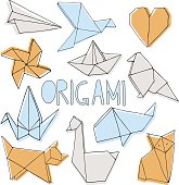Origami hand drawn set on white background