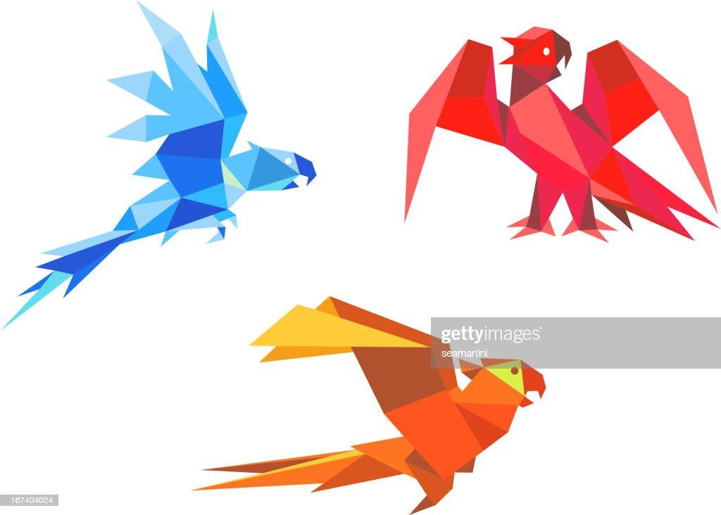 Origami parrots : Vectorkunst