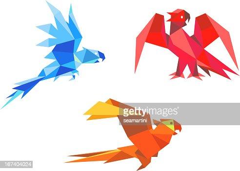Origami parrots : Vector Art