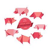 Cartoon pigs icon set. Abstract modern domestic swine animal sign. Craft paper folding origami pig emblem. Template flat geometric logo design. Vector element rectangular shape mammals symbol isolated