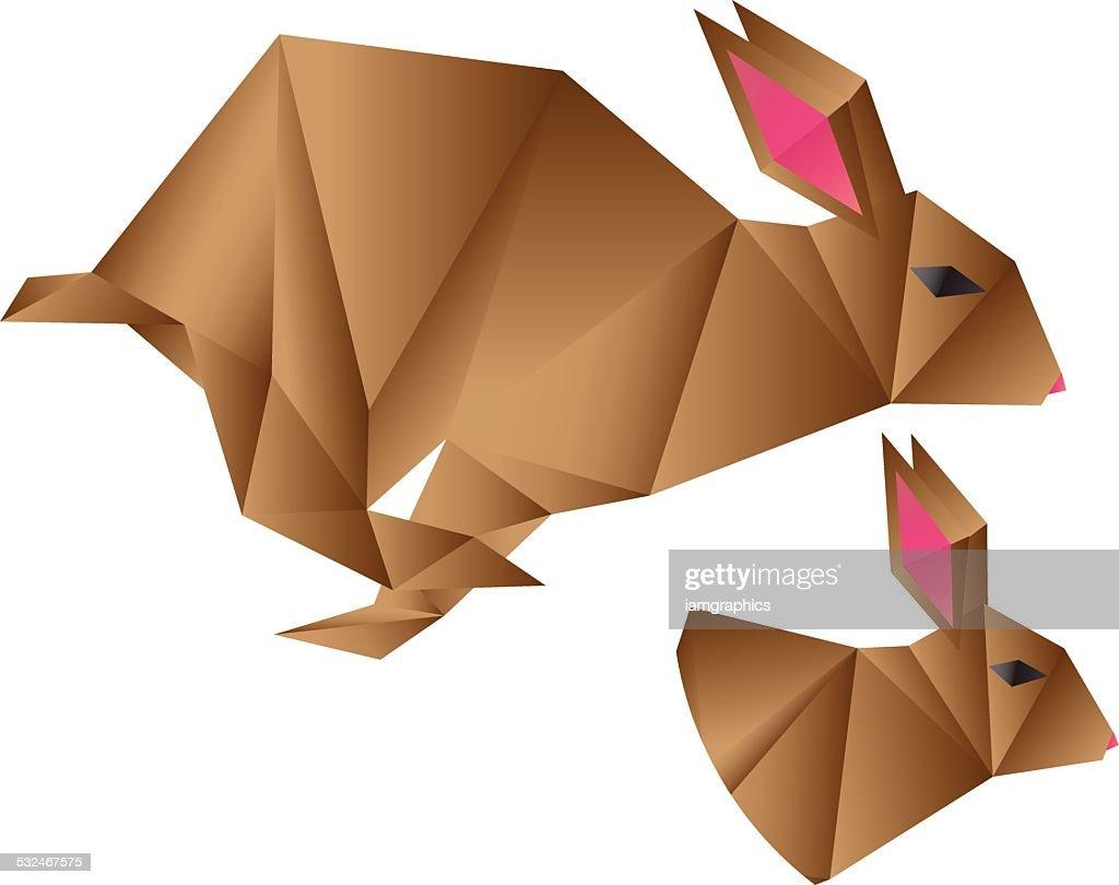 Origami Rabbit Vector Art