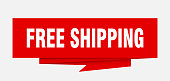 free shipping sign. free shipping paper origami speech bubble. free shipping tag. free shipping banner