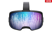 Original 3d vr headset with space visualization on surface. Concept of modern VR Technology. Front view. Vector illustration Isolated on white background.