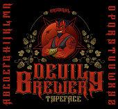 Retro font set with hops ornament, devil and pentagram for making label design.