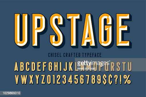 Original display font with facets, alphabet, letters and numbers : stock vector