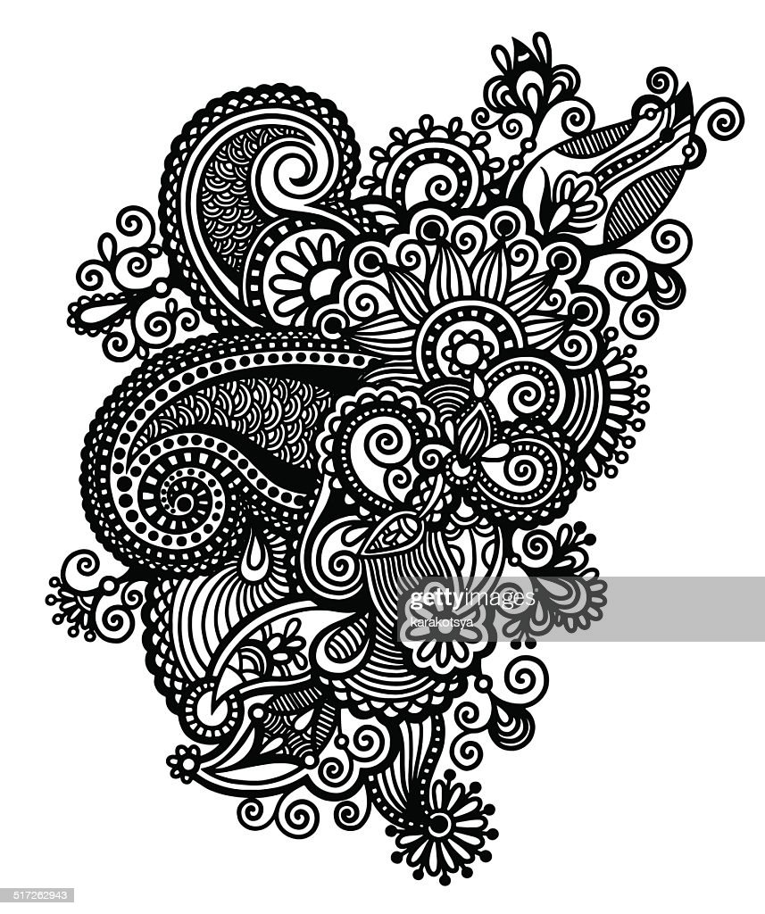 Line Art Ornate Flower Design : Original hand draw line art ornate flower design ukrainian