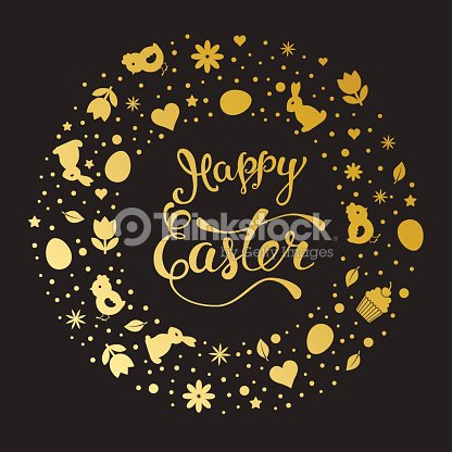 Original Hand Lettering Happy Easter With Easter Symbols Vector Art